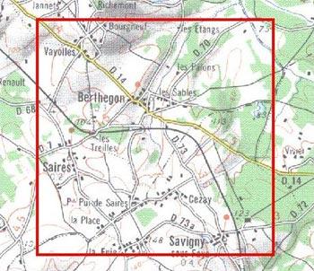 Exemple d'un carré (5 x 5 km) suivi en 2009 dans le nord de la Vienne