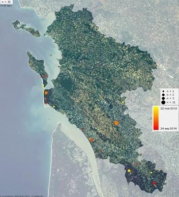 Lieux d'observations de l'Empuse pennée entre 2012 et 2016 en Charente-Maritime