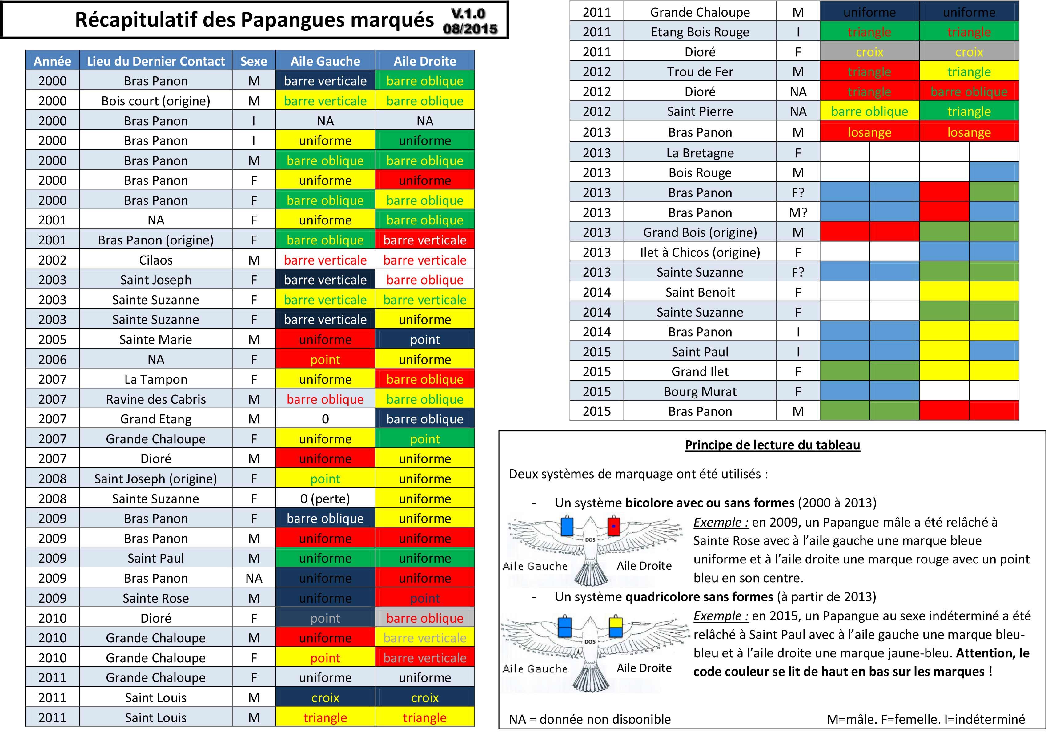 marquage papangue tableau recap v.1.0