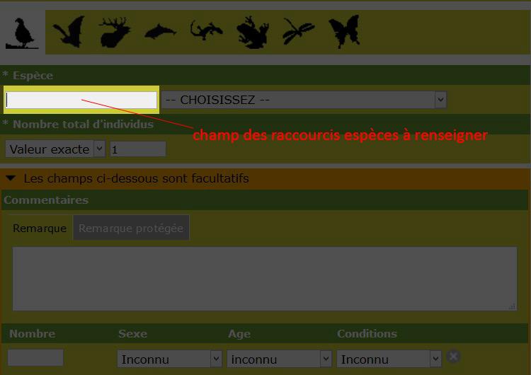 raccourcis espèces