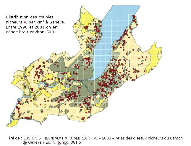 Carte de répartition de l'Atlas 1991-2001 pour le rougequeue à front blanc